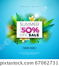 Summer Sale Design with Flower and Exotic Palm Leaves on Blue Background. Tropical Vector Special Offer Illustration with Typography Letter for Coupon, Voucher, Banner, Flyer, Promotional Poster 67062731