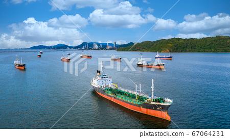 Oil tanker and LPG tanker parking at sea oil port 67064231