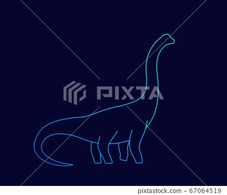 dinosaur, brachiosaurus silhouette, linear vector 67064519