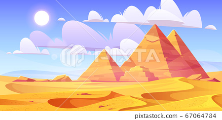 Egyptian desert with ancient pyramids 67064784