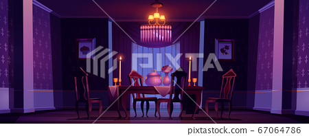 Dining room interior in victorian style at night 67064786