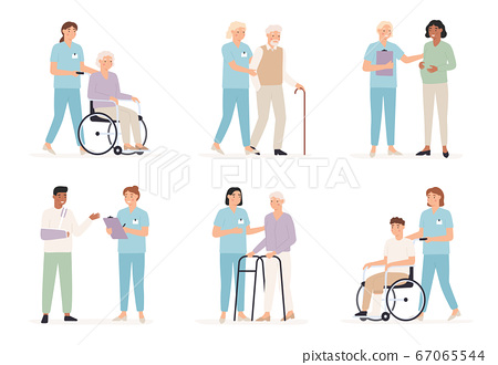 Nurse cares of patient. Family doctors with people in hospital, x ray examination. Care for elderly and disabled healthcare vector concept 67065544