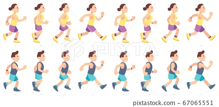 Man and woman character running. People animation. Sport athlete in sportswear having marathon race. Jogging couple 67065551