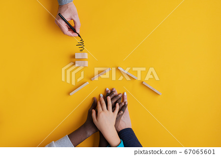 Conceptual image of family values and adoption. 67065601