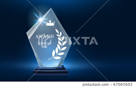 Glass trophy award shining with light. Realistic prize for winner in nomination. First place crystal glossy reward 67065602