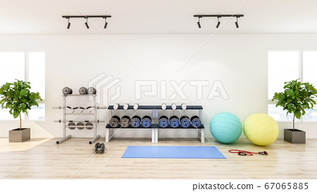 Modern gym interior with sport and fitness equipment, fitness center inteior, 3D Rendering 67065885