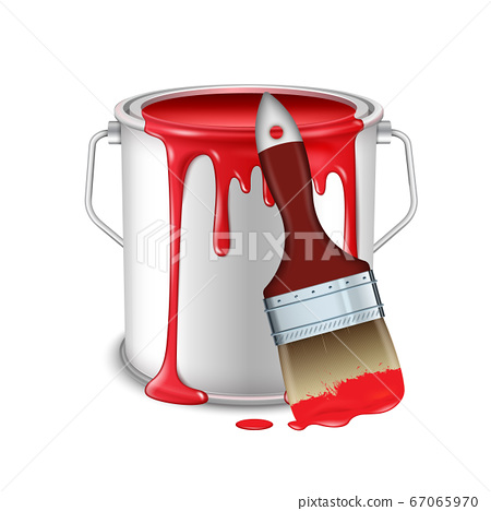 An open tin can with spilled red paint and a brush smeared in paint. 67065970