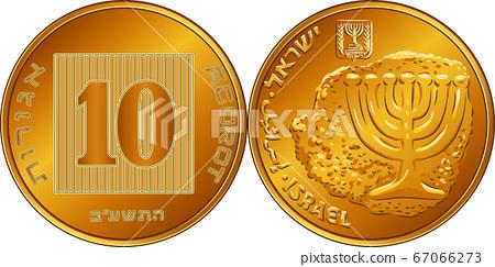 Vector Israeli silver money one shekel coin 67066273