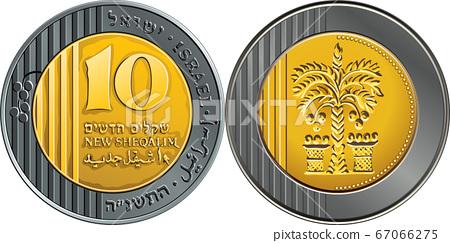 Vector Israeli silver money one shekel coin 67066275