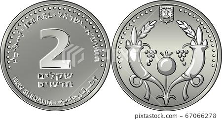 Vector Israeli silver money one shekel coin 67066278