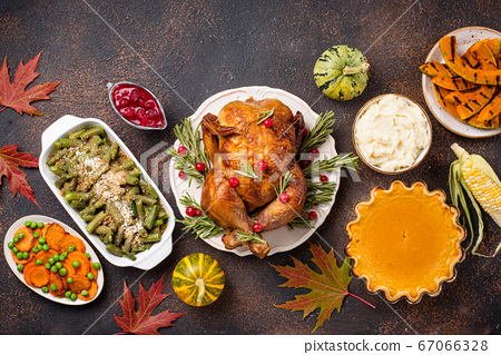 Thanksgiving Day traditional festive dinner 67066328