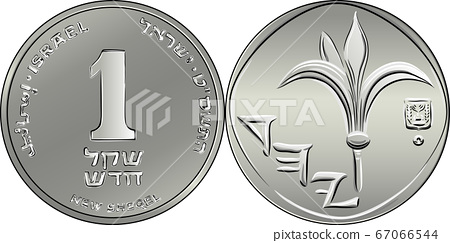Vector Israeli silver money one shekel coin 67066544