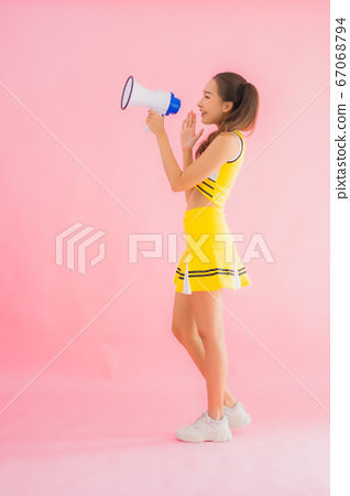 Portrait beautiful young asian woman cheerleader with megaphone 67068794