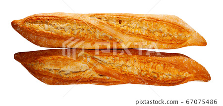 Closeup of crunchy french baked baguettes, bakery products 67075486