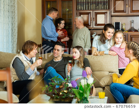 Friendly family in home interior 67076659