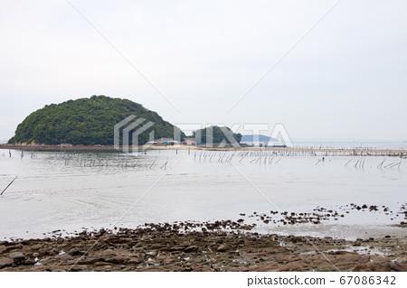 아이 치현 니시오시 東幡豆 해안 조개 잡이 풍경 67086342