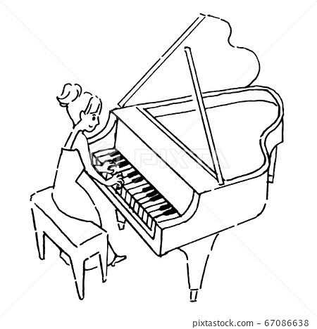 Woman Playing The Grand Piano Line Drawing Stock Illustration 67086638 Pixta Learn how to draw piano cartoon pictures using these outlines or print just for coloring. https www pixtastock com illustration 67086638