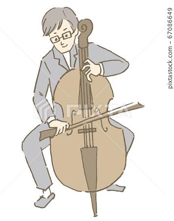 戴著眼鏡彈大提琴的男人 67086649