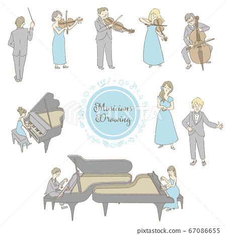 插圖集的弦樂四重奏和鋼琴家 67086655