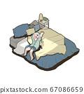 침대에서 휴식 여성 (기상) 67086659