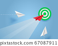 Paper plane go to success goal vector business financial concept start up, leadership, creative idea symbol paper art style with copy space for text. illustration 67087911