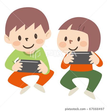 게임을하는 아이들의 일러스트레이션 67088497