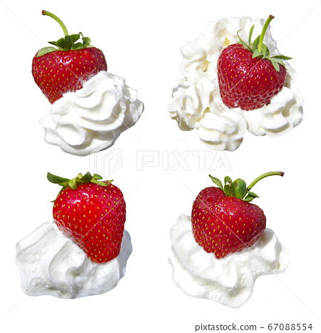 Ripe red strawberry with cream isolated on a white 67088554