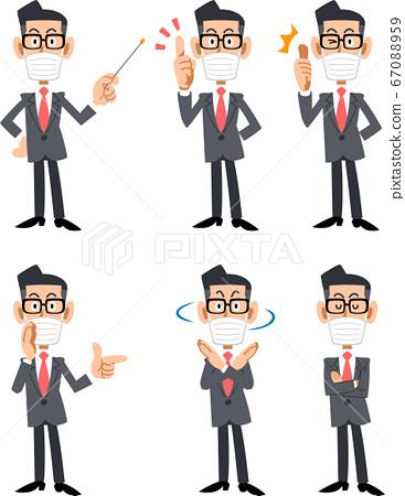 마스크를 착용하고 안경을 쓴 정장 남성 6 가지의 표정과 포즈 67088959