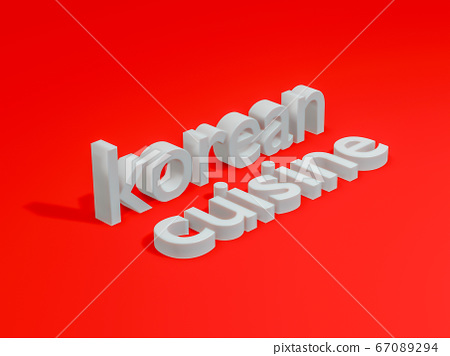 3d render of korean cuisine text on red background  67089294