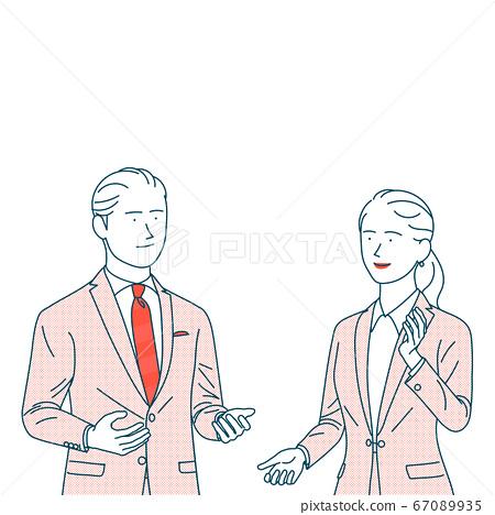 穿西裝的男人和女人說話 67089935