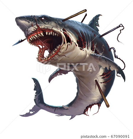 Great white shark zombie attacks in a jump. A giant zombie shark attacks jumping out of the sea into Halloween. 67090091