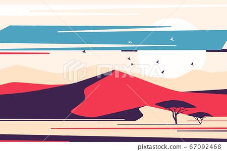Bright sunrise over the desert sand dunes. Vector 67092468