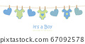 its a boy welcome greeting card for childbirth with hanging hearts and bodysuits 67092578