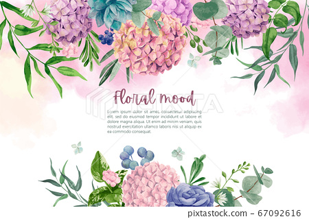 Wet watercolor background with hydrangea flowers and leaves 67092616