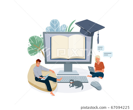 Online home school education vector illustration. Remote learning design isolated on white background with people study on laptop, plant, cat pet 67094225