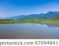 水稻种植后的稻田和北阿尔卑斯山[初夏的大町市] 67094641
