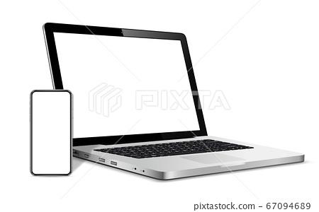 Modern smart phone and laptop blank screen 67094689