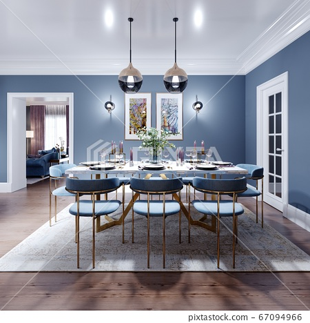 Large dining and dining room table, with a kitchen 67094966