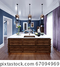 Wooden kitchen island with decor in a modern 67094969