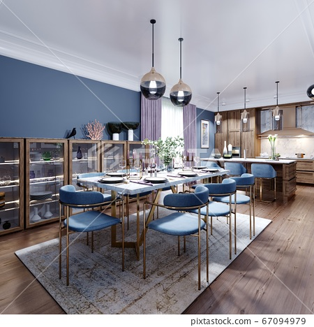 Large dining and dining room table, with a kitchen 67094979