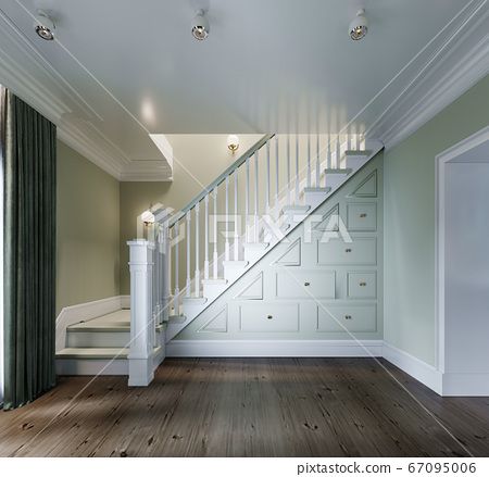 Entrance to the living room with a white staircase 67095006