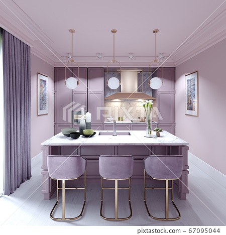 Kitchen Counter With Three Chairs In Lilac Color Stock Illustration 67095044 Pixta