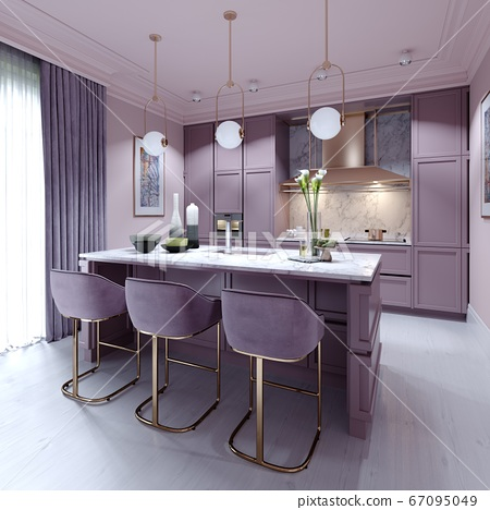 kitchen counter with three chairs in lilac color 67095049
