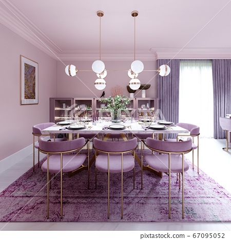 Lilac color dining room in trendy art deco style 67095052