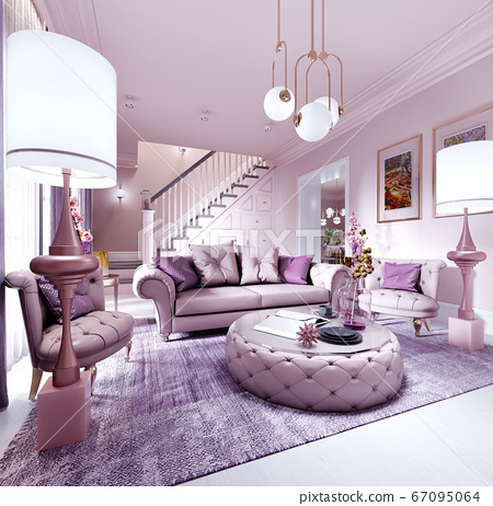 Modern art deco living room in lilac color with 67095064