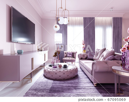 Modern art deco living room in lilac color with 67095069