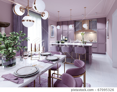 Fashionable kitchen in a trend style lilac color 67095326