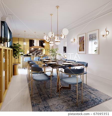 Fashionable designer dining table, black 67095351