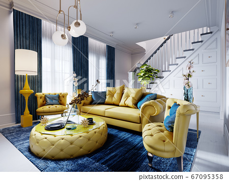 Luxurious fashionable living room with yellow 67095358