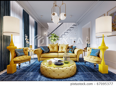 Luxurious fashionable living room with yellow 67095377